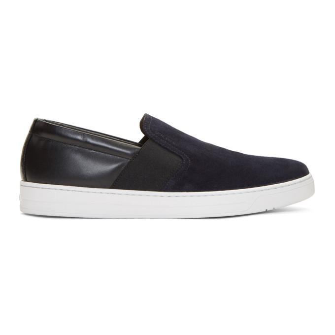 Prada Navy & Black Suede Slip-on Sneakers In Blue Suede
