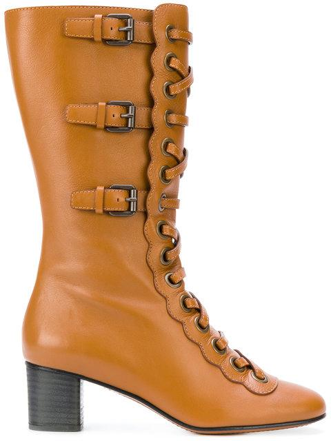 ChloÉ Orson Calf Length Boots In Ochre Delight