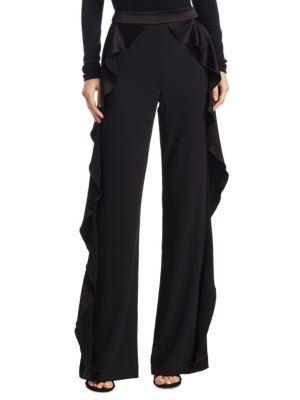 2561648dd0bd Alice And Olivia Alice + Olivia Wallace Side-Ruffle Pants In Black ...