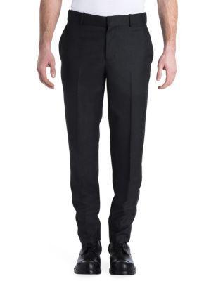 Alexander Mcqueen Solid Wool Pants In Charcoal