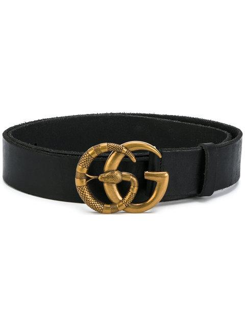 07e581ade04 Gucci Leather Belt With Double G Buckle With Snake In Black