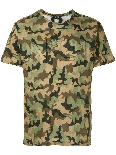 N°21 Camouflage Printed T-shirt In Green