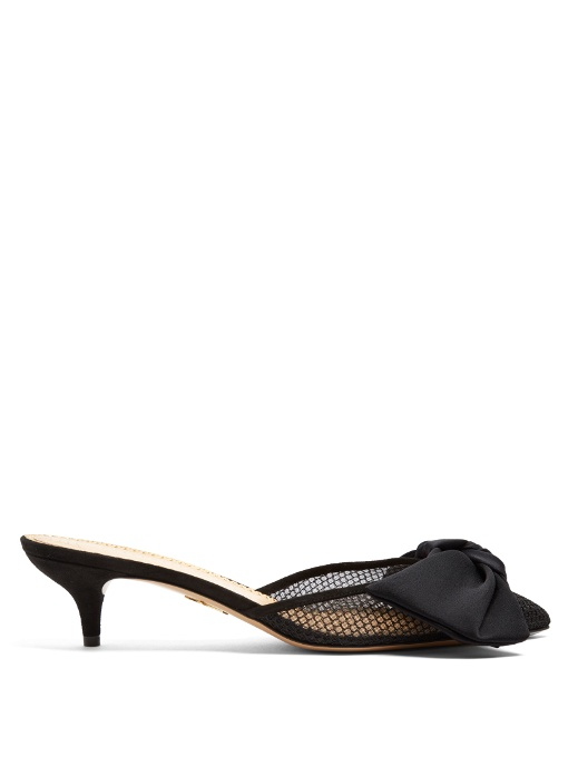 f9dc5829b96 Charlotte Olympia Sophie Bow-Embellished Satin And Mesh Mules In Black