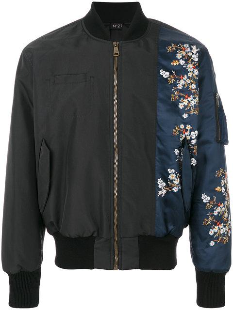 N°21 Flower Print Patch Bomber Jacket In Black