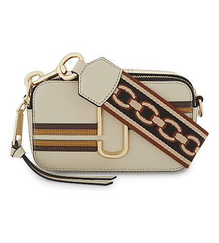 0b3192e6a411 Marc Jacobs Snapshot Stripe Leather Camera Bag In Parchment Multi ...