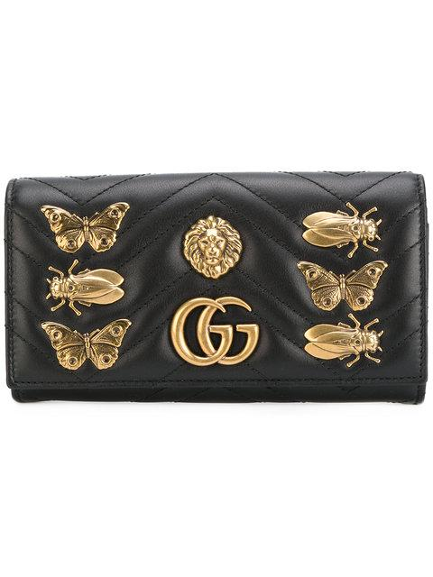 450c93bac119 Gucci Small Full Flap Wallet-On-A-Chain With Insects In Black | ModeSens