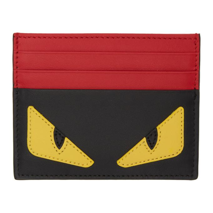 Fendi Black & Red 'bag Bugs' Card Holder