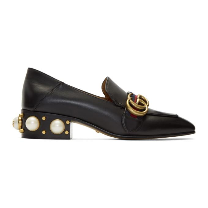 12c29dd85 Gucci Marmont Logo And Faux Pearl-Embellished Leather Collapsible-Heel  Pumps In Black