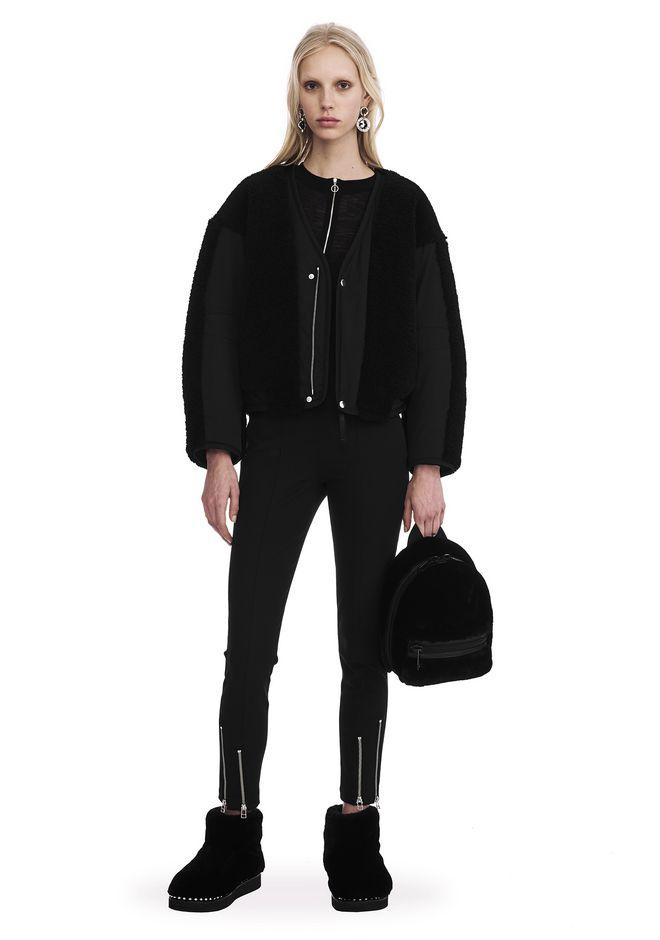 Alexander Wang Twill Bomber With Shearling In Black
