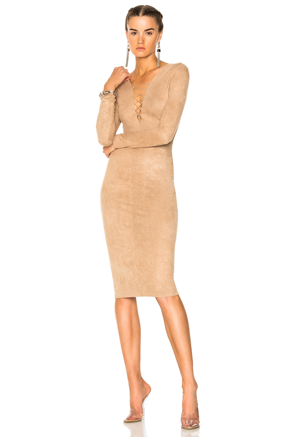 7ef3bf9e465 T By Alexander Wang Stretch Faux-Suede Long-Sleeve Lace-Up Midi Dress