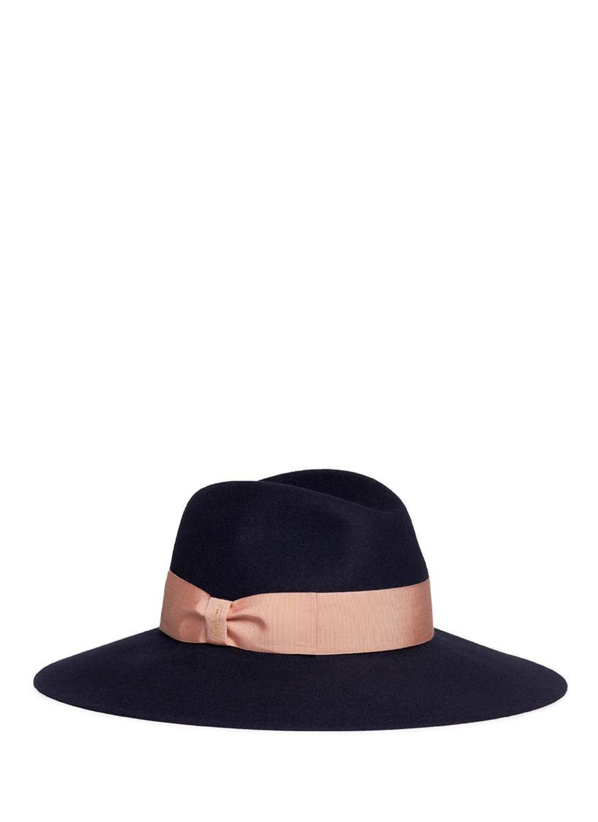 dba258047c55e Borsalino  Alessandria  Wide Brim Rabbit Furfelt Fedora Hat In Navy Beige