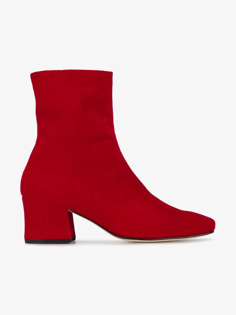 2b5bae99f325 Dorateymur Opening Ceremony Sybil Leek Suede Heel Boots In Red ...