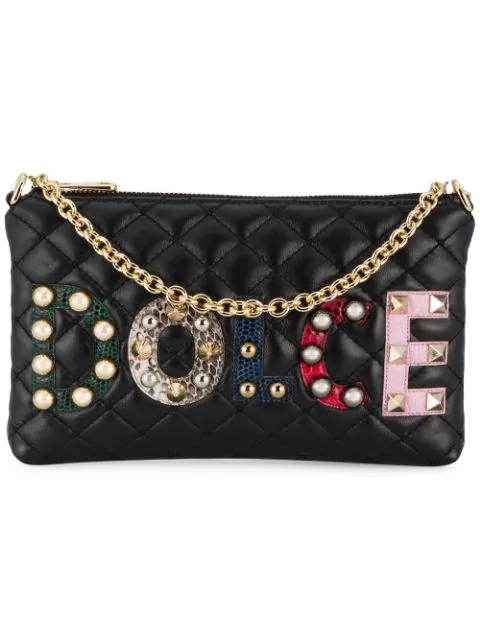 Dolce & Gabbana AppliquÉ Logo Quilted Bag In Black