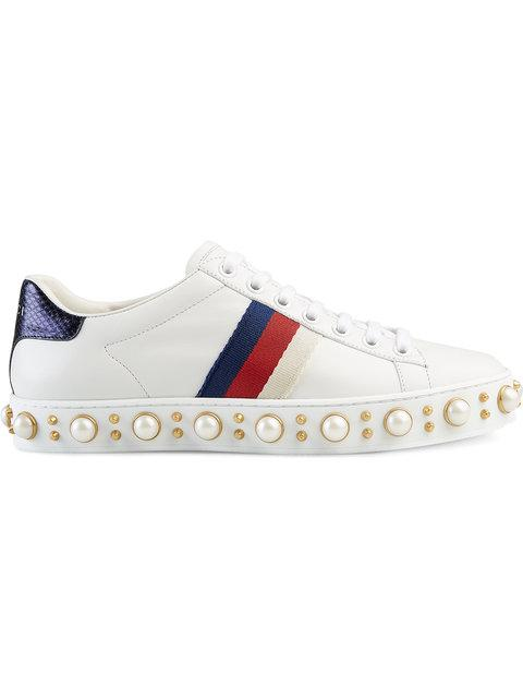 Gucci Ace铆钉板鞋 In 9075 White
