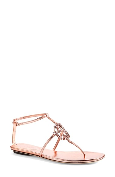 d2f2ad4f03e3 Gucci Gg Sparkling Crystal   Leather Sandals In Salmon Pink