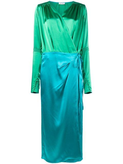 Attico Blue/Green Wrap Around Satin Dress