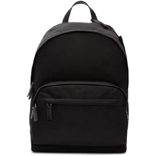 Prada Nylon Backpack With Leather Details In F0002 Nero