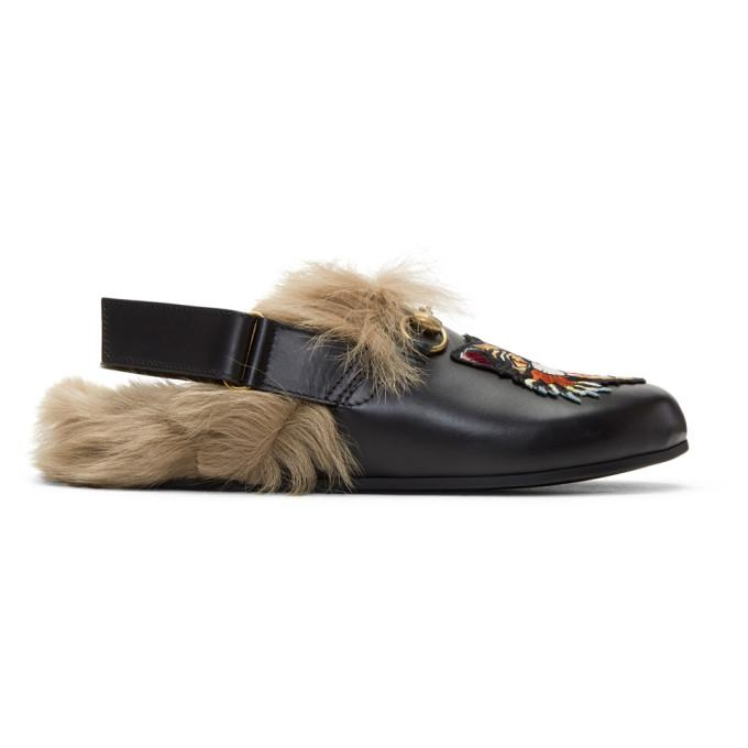 0af43baaf86421 Gucci Shoes Slipper River In Smooth Calfskin And Fur With Classic Horsebit  And Angry Cat Patch