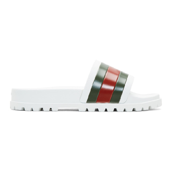 Gucci Pursuit Trek Rubber Slider Sandals In White
