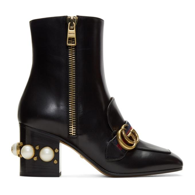 7a0b2cebacd Gucci Marmont Logo And Faux Pearl-Embellished Leather Ankle Boots In Black