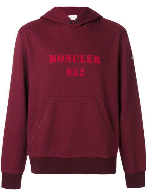Moncler Maglia Logo Cotton Hoodie In Pink