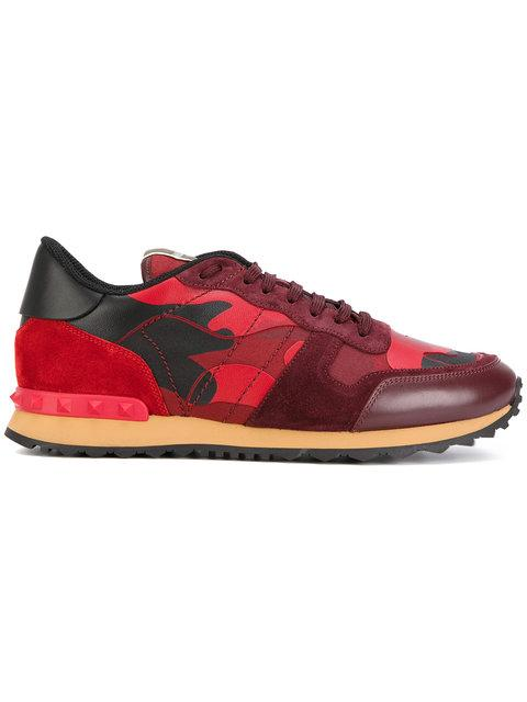 Valentino Garavani Rockrunner Camouflage-print Suede And Leather Trainers In Red