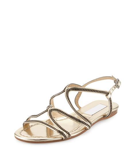e3ec4c009d482c Jimmy Choo Nickel Chain Strappy Flat Sandal