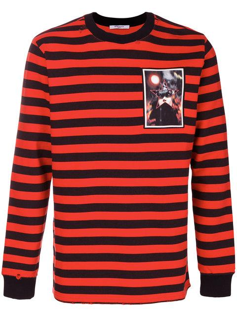Givenchy Striped Cotton-jersey Sweatshirt In Black