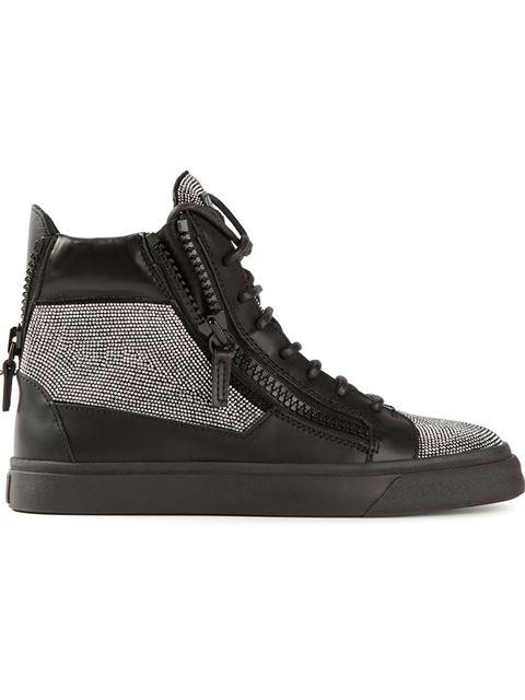 Giuseppe Zanotti Black & Silver Nailhead London Donna Sneakers
