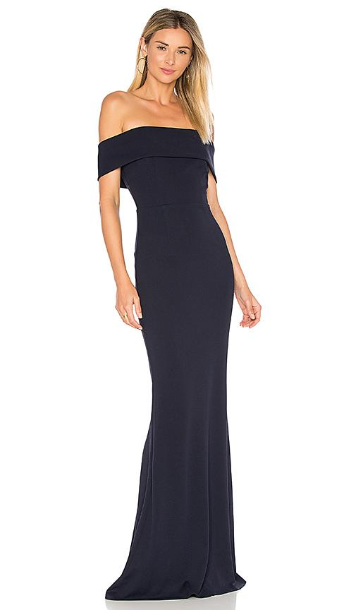 Katie May Titan One-shoulder Cutout Crepe Gown In Navy