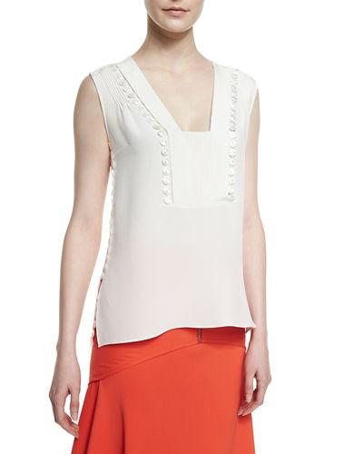 Derek Lam Crepe Guipure-detail Sleeveless Top In Pale Shell