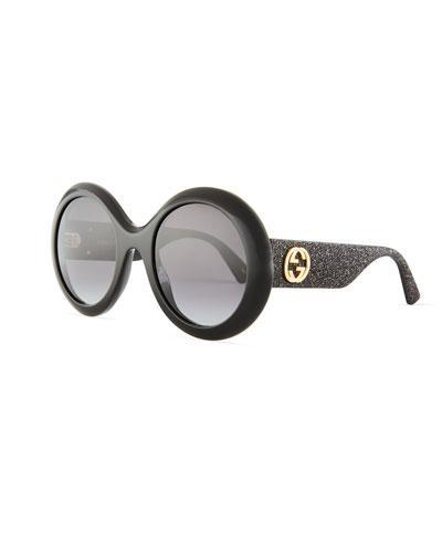 096461ecb Gucci Gg0101S Acetate Round Women's Sunglasses W/Glitter Temples In Black/Shaded  Black