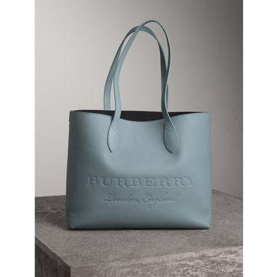 Burberry Remmington Leather Tote - Blue In Dusty Teal Blue