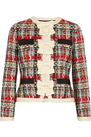 f0a75f739 Gucci Silk-Twill And Grosgrain-Trimmed Metallic Tweed Jacket In Multicolour