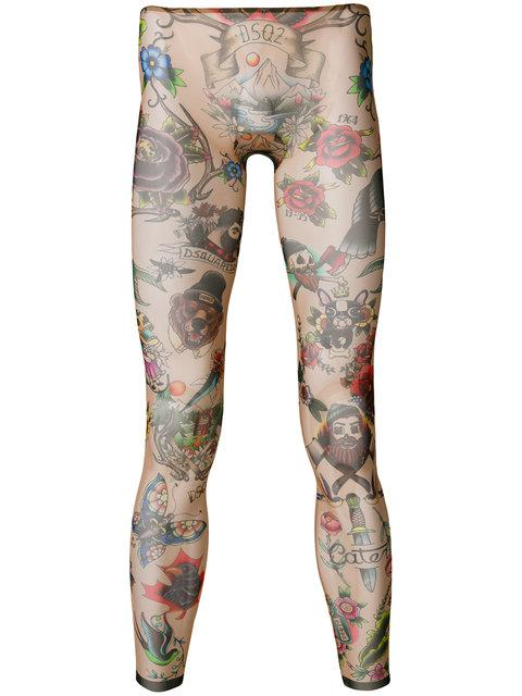 Dsquared2 Tattoo Leggings In Neutrals