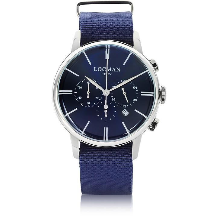 Locman 1960 Stainless Steel Men's Chronograph Watch W/blue Canvas Strap