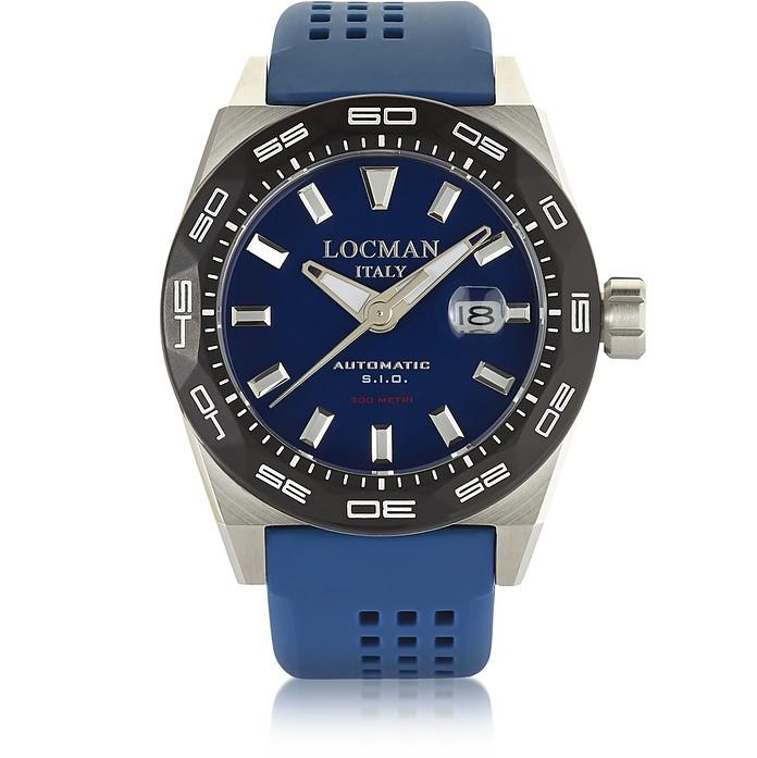 Locman Stealth 300 Mt Analog Display Automatic Self Wind Blue Stainless Steel, Titanium And Silicone Men's