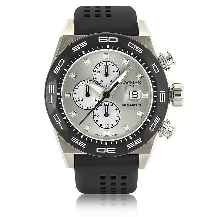 Locman Stealth 300mt Black Stainless Steel And Titanium Men's Chronograph Watch