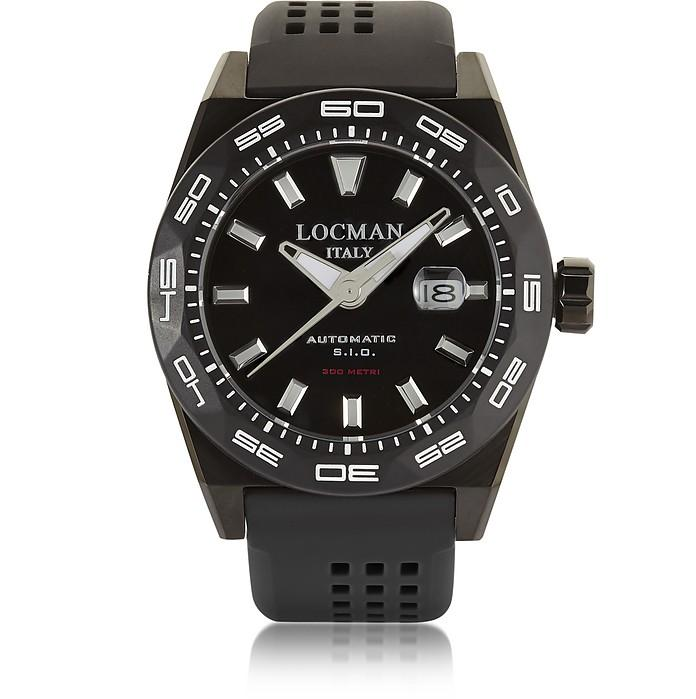 Locman Stealth 300 Mt Analog Display Automatic Self Wind Black Pvd Stainless Steel, Titanium And Silicone M