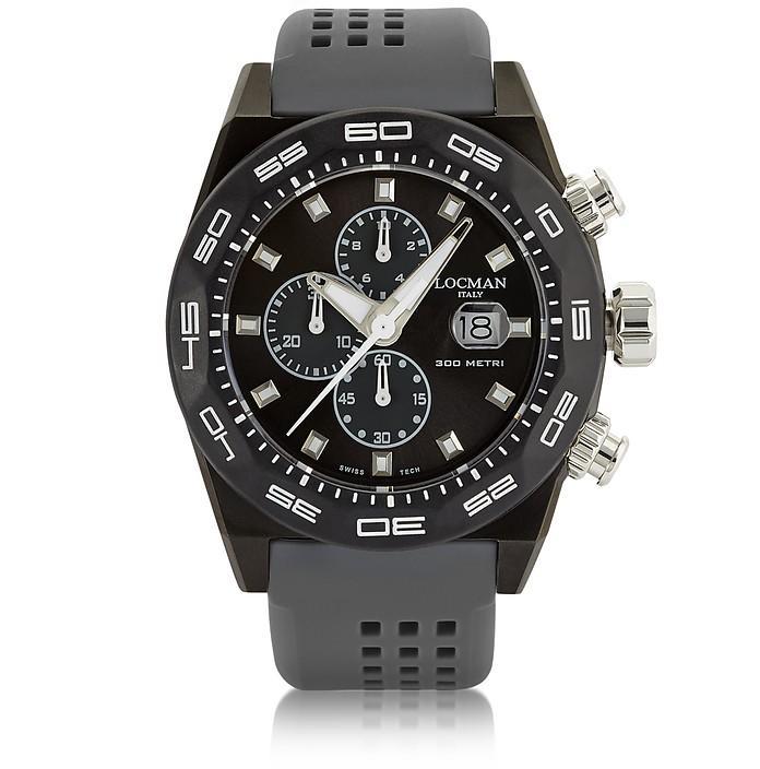 Locman Stealth 300mt Dark Gray Stainless Steel And Titanium Men's Chronograph Watch
