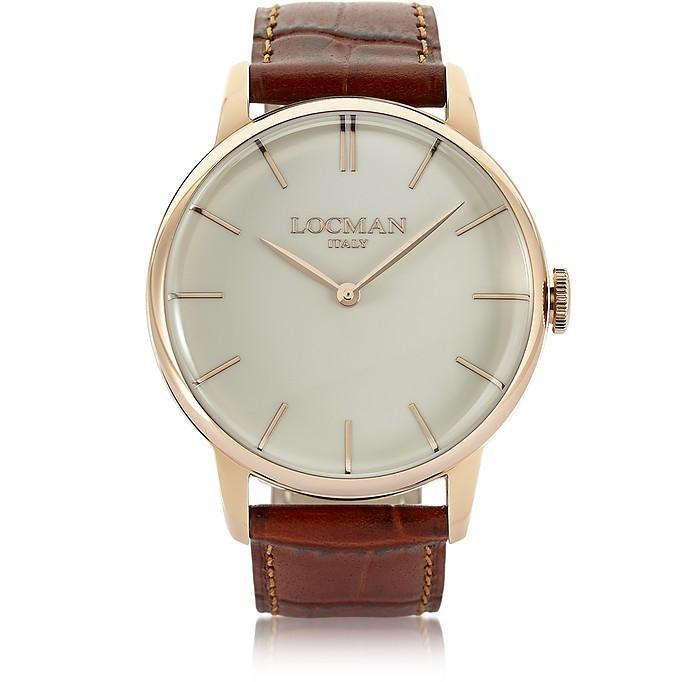Locman 1960 Rose Gold Pvd Stainlees Steel Men's Watch W/brown Croco Leather Strap