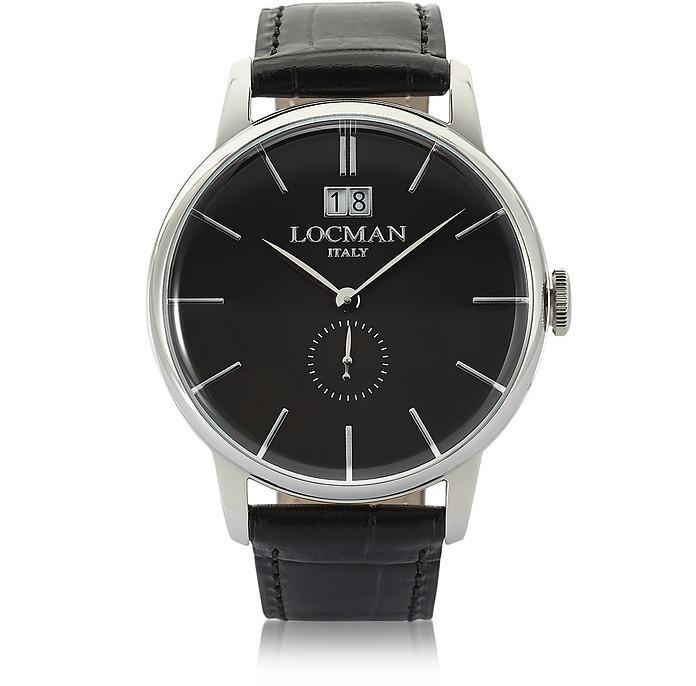 Locman 1960 Silver Stainless Steel Men's Watch W/ Black Croco Embossed Leather Strap