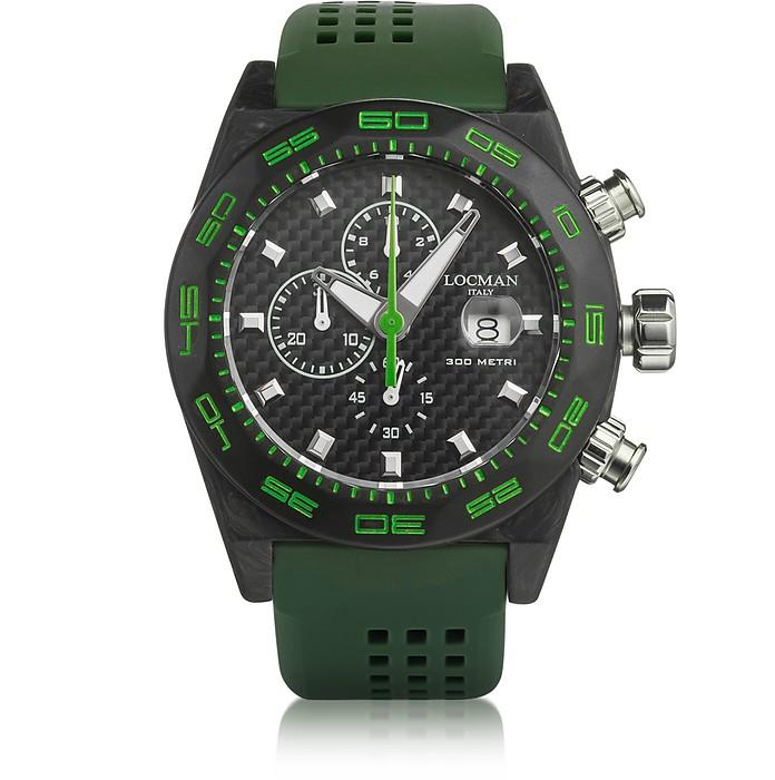 Locman Stealth 300mt Green Carbon Fiber And Titanium Quartz Movement Men's Chronograph Watch