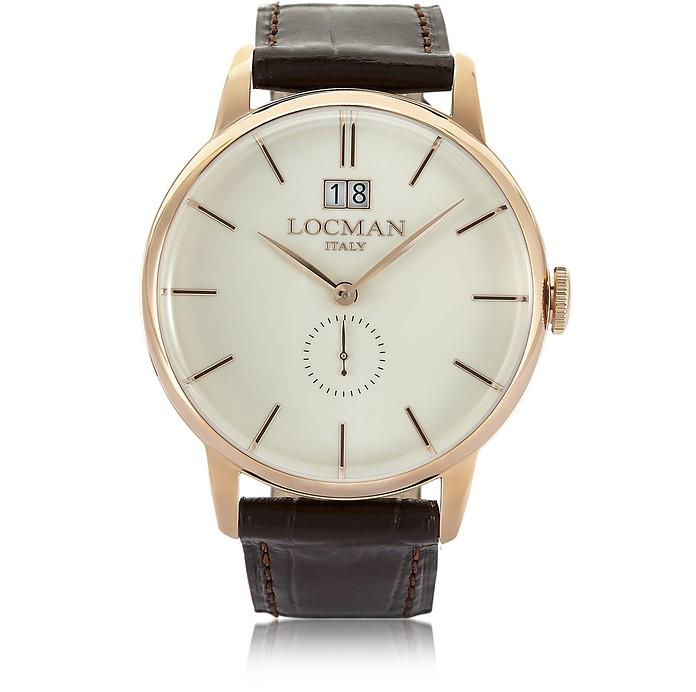Locman 1960 Rose Gold Stainless Steel Men's Watch W/dark Brown Croco Embossed Leather Strap