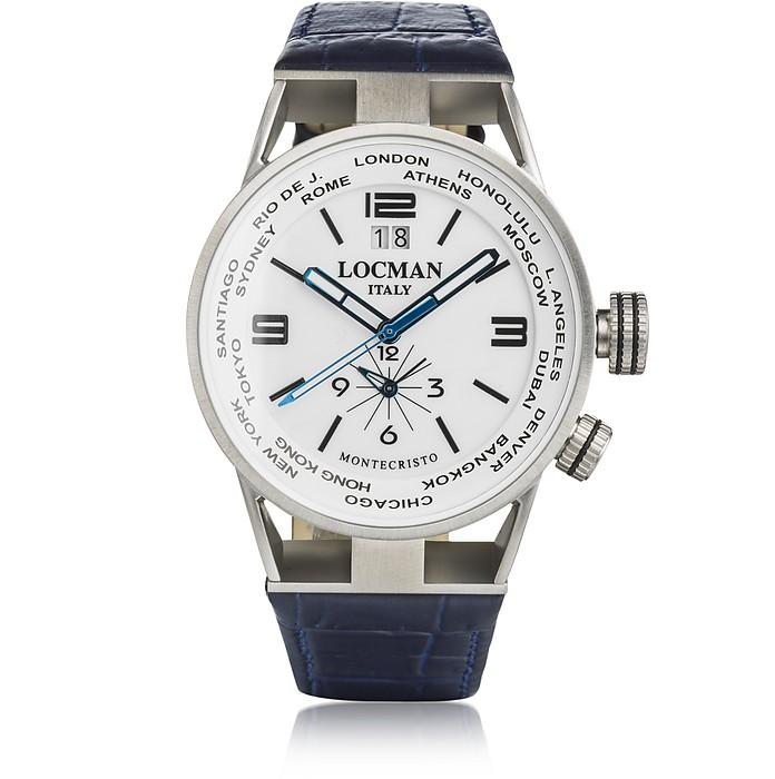 Locman Montecristo Blue Stainless Steel & Titanium Dual Time Men's Watch W/leather Strap