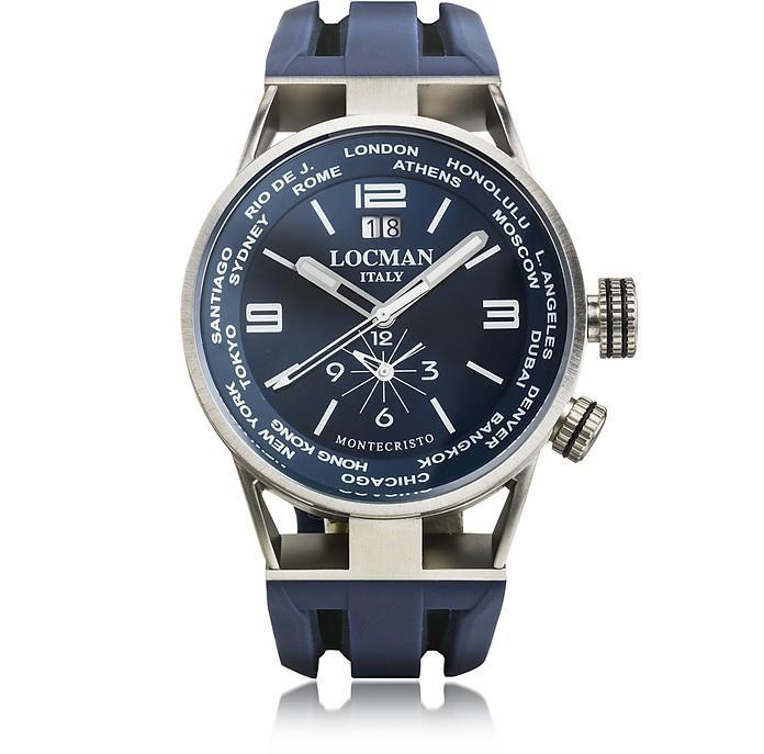 Locman Montecristo Blue Stainless Steela & Titanium Dual Time Men's Watch