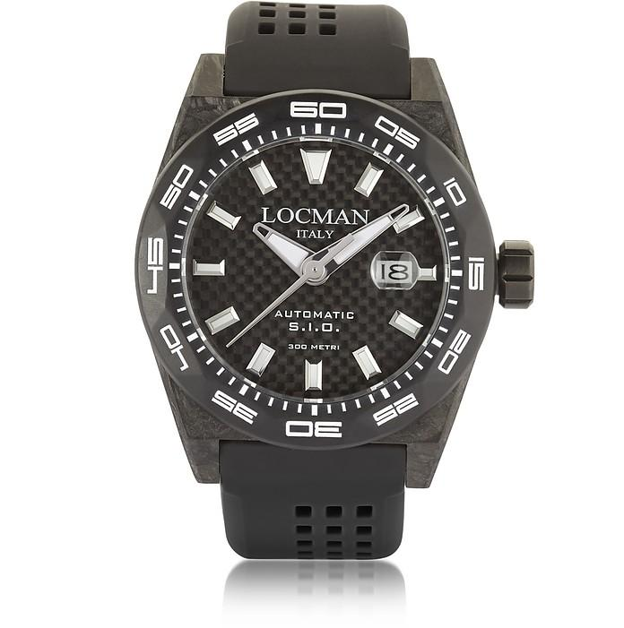 Locman Stealth 300 Mt Automatic Black Carbon Fiber And Titanium Case W/ Silicone Strap Men's Watch