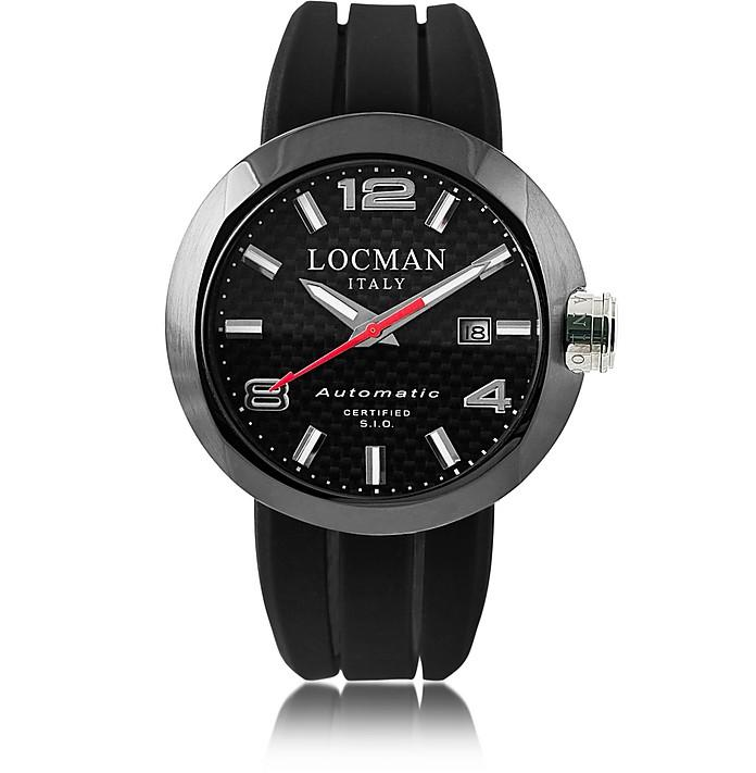Locman One Automatico Black Pvd Stainless Steel Men's Watch W/leather And Silicone Band Set