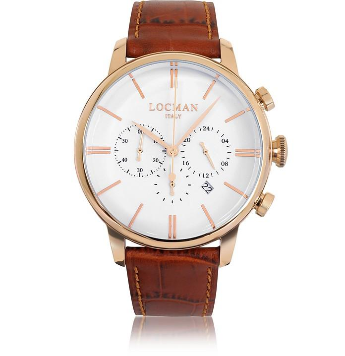 Locman 1960 Rose Gold Pvd Stainless Steel Men's Chronograph Watch W/brown Croco Embossed Leather Strap