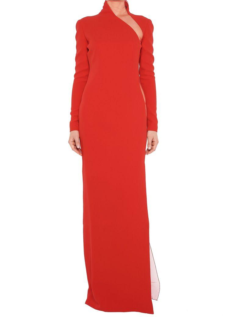 bfd24d865996 Tom Ford Illusion-Panel Silk Long-Sleeve Gown, Red | ModeSens